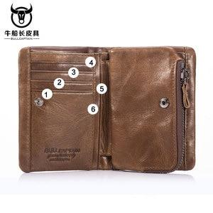 Image 5 - BULLCAPTAIN 2020 MEN Coffee Cow Leather Wallet Coin Pocket Money Purse Bag Card Holder Short Trifold Hasp Zipper Wallet