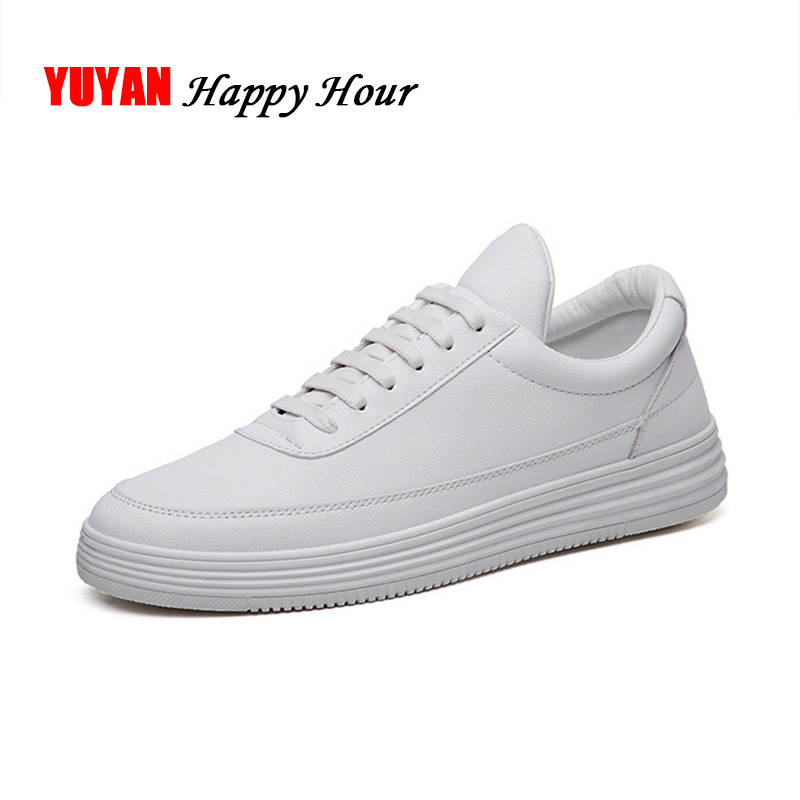 Men Sneakers Soft Leather Casual Shoes Flat Fashion Brand Sneakers Men's White Shoes Black KA015 flat laced letter nice men s sports shoes fashion casual shoes black and white shoelace 120cm