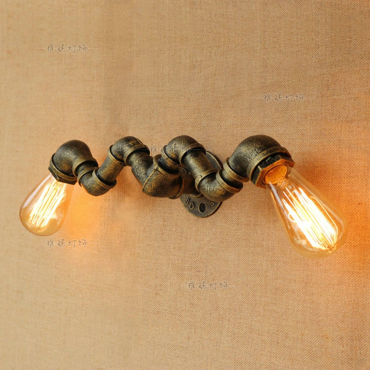 Clothing store water pipe wall lamp personality Industrial wind retro creative coffee shop bar decorative double wall lights ZA