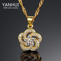 Women S Vintage Full Rhinestone Snowflake Pendant Necklace 18K Gold Filled Choker Chain Statement Necklace Fine