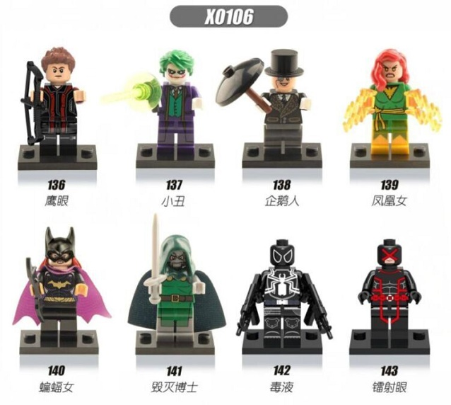 Single Sale Super Heroes Penguin Hawkeye Venom Cyclops Doctor Doom Joker Batgirl Building Blocks Bricks Children Gift Toys X0106