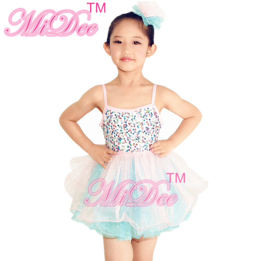 MiDee Sequins Dance Dress Swan Lake Tutu Dance Dress Girls Camisole Pinky Dresses Two Tones Dance Costume For Girls