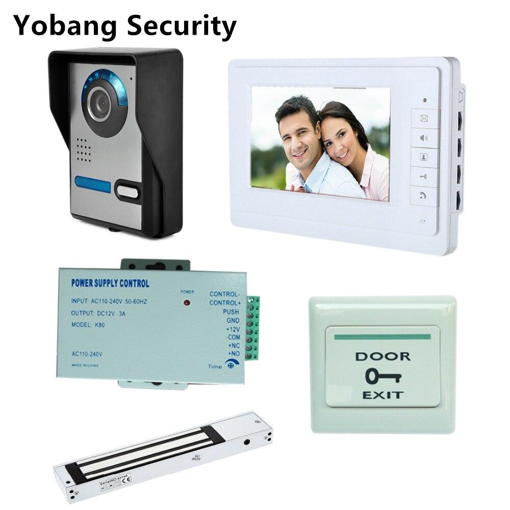 Yobang Безопасность Бесплатная доставка DHL 7 Домашний видеодомофон домофон с белым монитором свободные руки дверной звонок + электрический за