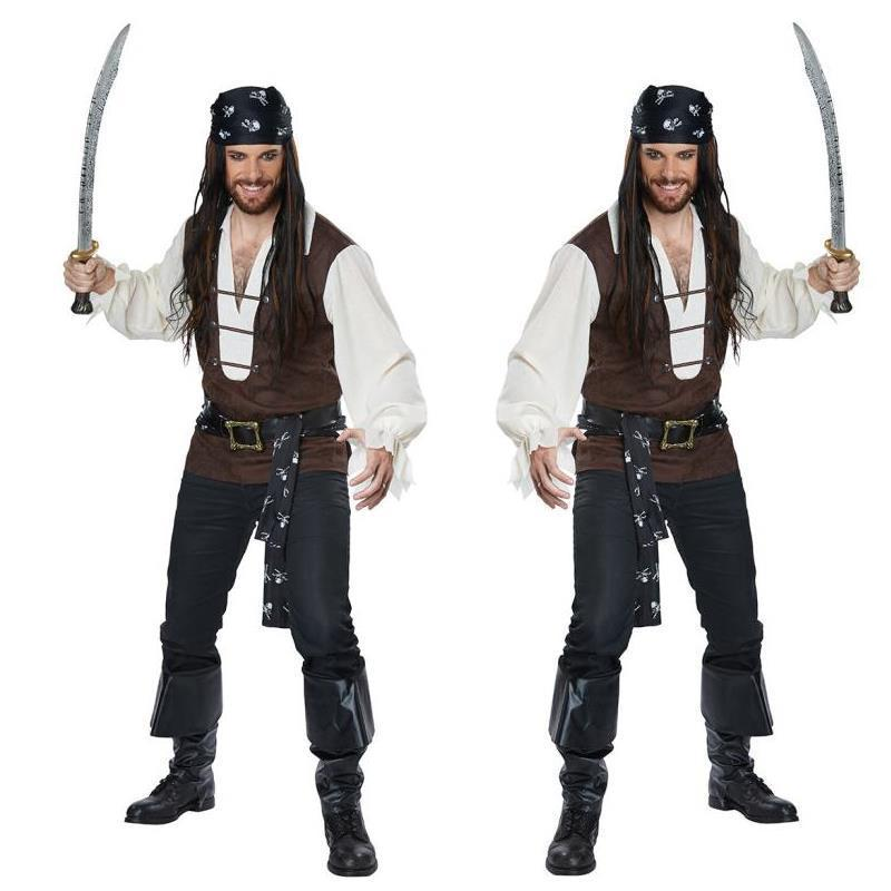Halloween New Men Cosplay Pirate Costumes Carnival Caribbean Pirate Pirate Stage Performance Costume Christmas Male Party