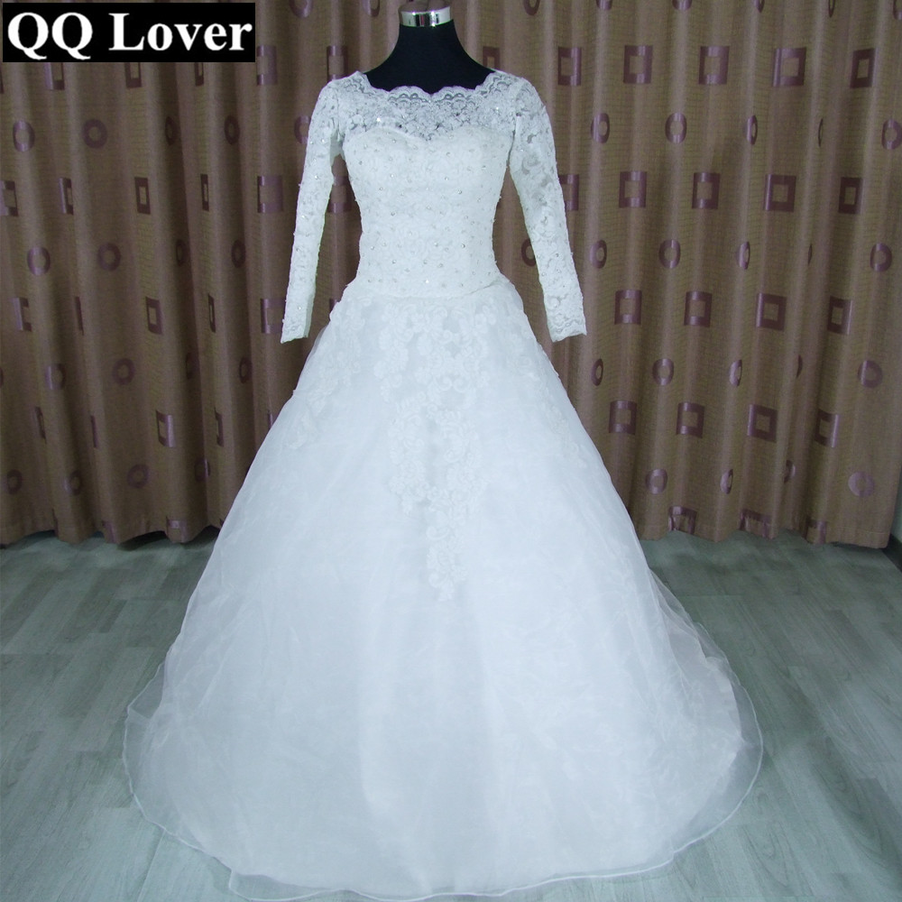 Qq lover 2017 new new arrival spring organza lace for Sheer lace wedding dress