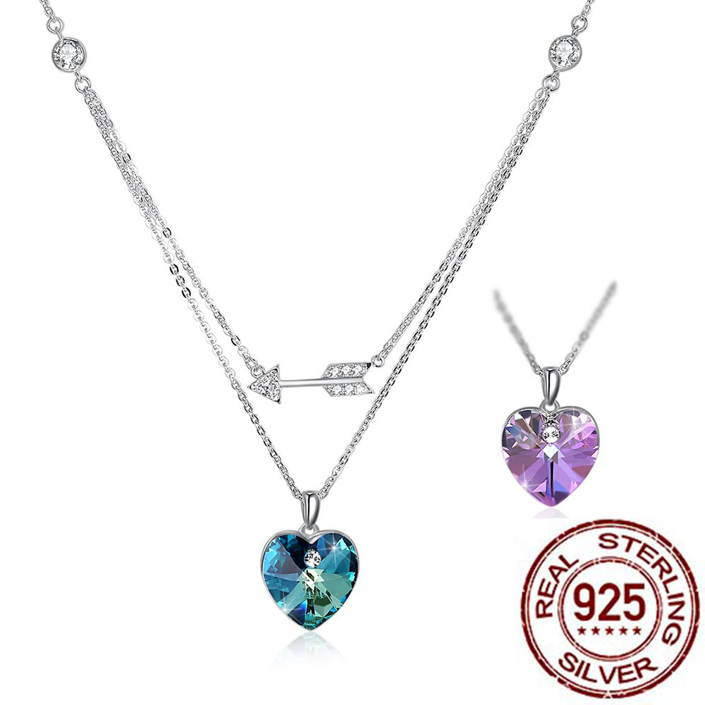 Genuine LEKANI Crystals From Swarovski Lover Heart Couple Retro Bow Women 925 Sterling Silver Necklace Pendant stylish rhinestoned heart faux crystals beads tassel pendant necklace for women