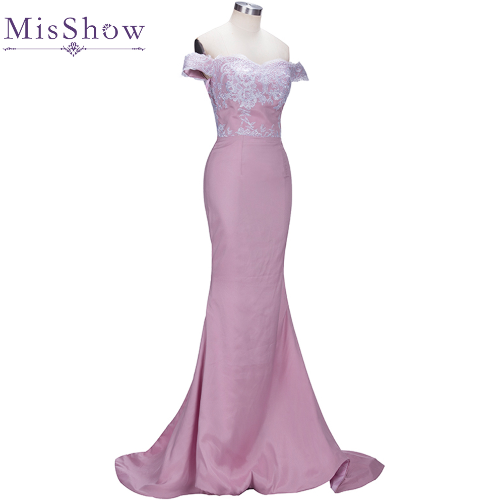 [Custom-made]Charming Pink Lace Applique 2019 Mermaid Long   Bridesmaid     Dresses   Maid Of Honor Off the Shoulder Wedding Party Gowns
