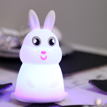 7 Colors Changed Cartoon Cute rabbit USB Charging Light Soft Table Lamp Home Decor for Kids Touch Control Night light