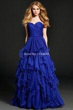 Neue Ankunft 2016 Schatz Royal Blue Abendkleider Tiered Partei Chiffon Bodenlangen Besondere Anlässe Prom Kleider