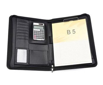 Affari Cuoio DELL'UNITÀ Di Elaborazione Sacchetto Gestore B5 18 K Padfolio Portafoglio Cerniera Calcolatrice Notebook Scrittura Pad Archiviazione Cartella Per I Documenti
