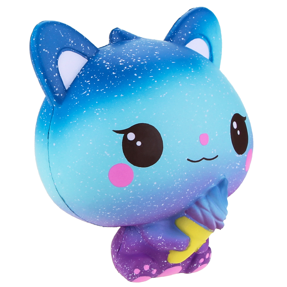 Jumbo Squishies Slow Rising Scented Ice Cream Cat Kawaii Squishy Stress Relief Toys Jumbo Decoration Squishy Fun Collection For Kids and Adult (Galaxy Blue) (2)