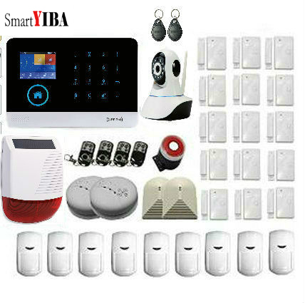 SmartYIBA Hot Sale!!! WiFi GPRS Wireless Alarm System+Wireless SMOKE DETECTOR CAMERA IP SOLAR CAMERA GSM Power Siren Alarm Kits