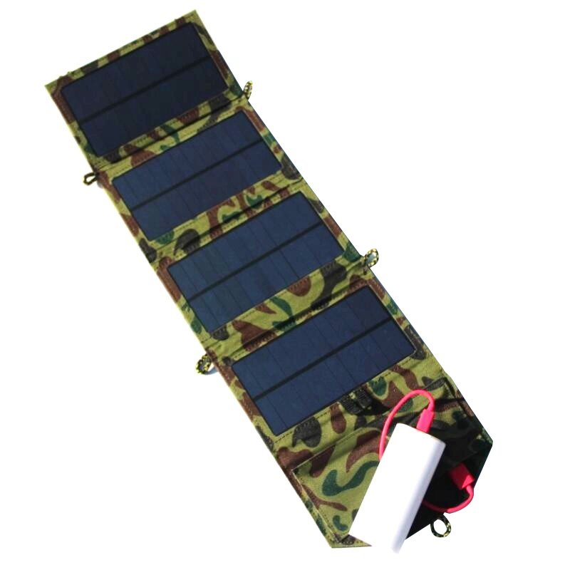 High Quality 7W 5V Portable Folding Solar Panel Charger For Mobile phone/ Power Bank Charger USB Output