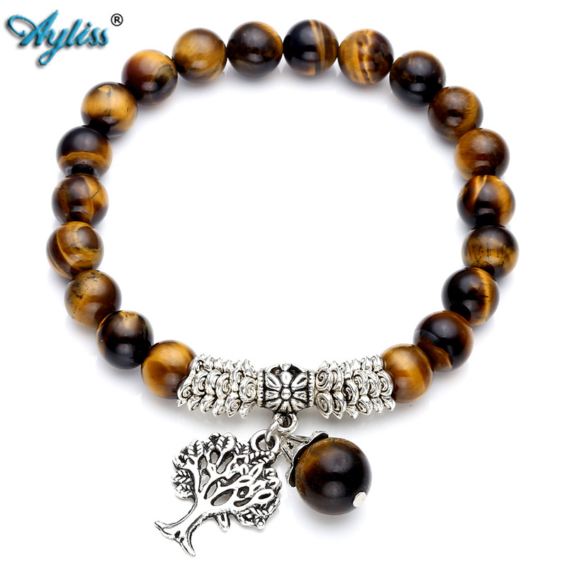 Ayliss 1x 8MM Tiger Eye Natural Gem Stone Tree of Life Lucky Charm Stretch Bracelet Natural Stone Bracelet Jewelry 6.2