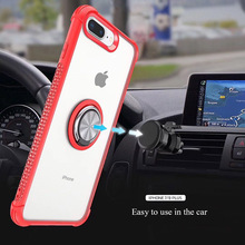 Luxury Phone Case For iPhone 7 8 6 6S Plus X XR XS MAX 11 Pro Max Back Cover Transparent Silicone Shockproof Shell Finger Ring