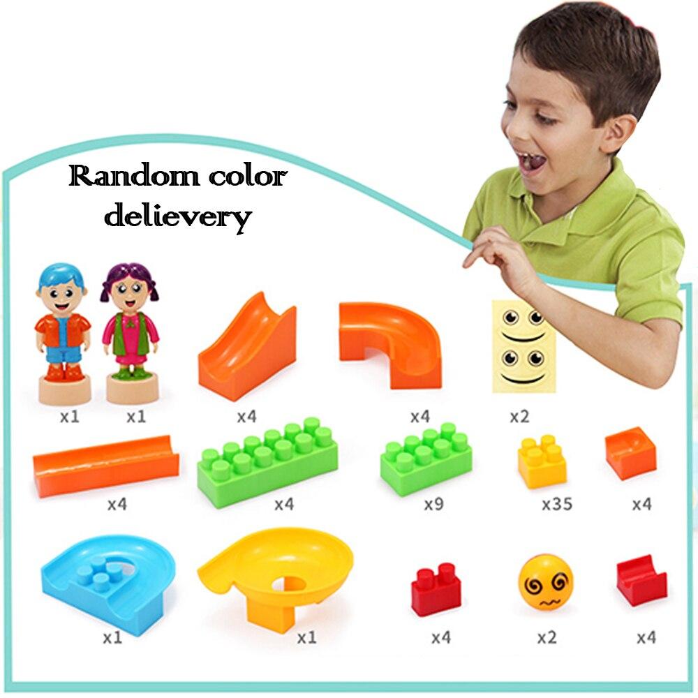78 Pcs/ensemble Grand Bâtiment Briques Blocs et Piste Modèle Kits dans 1 Marble Run Jouet pour Enfants