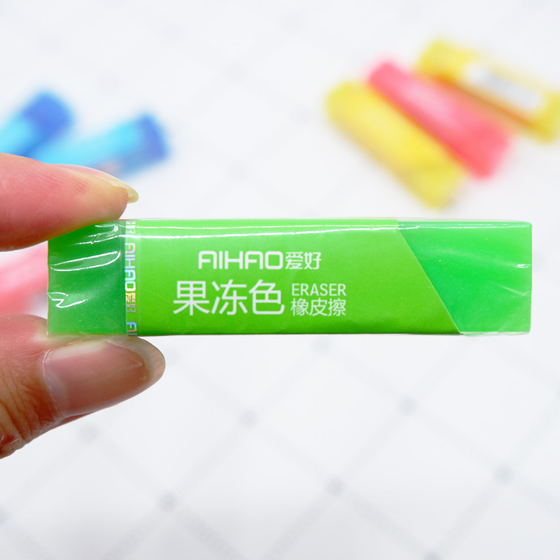 Купить с кэшбэком 1X Creative cute jelly color Eraser Rubber Stationery  Shaped Creative kawaii School Supplies learning office supplies