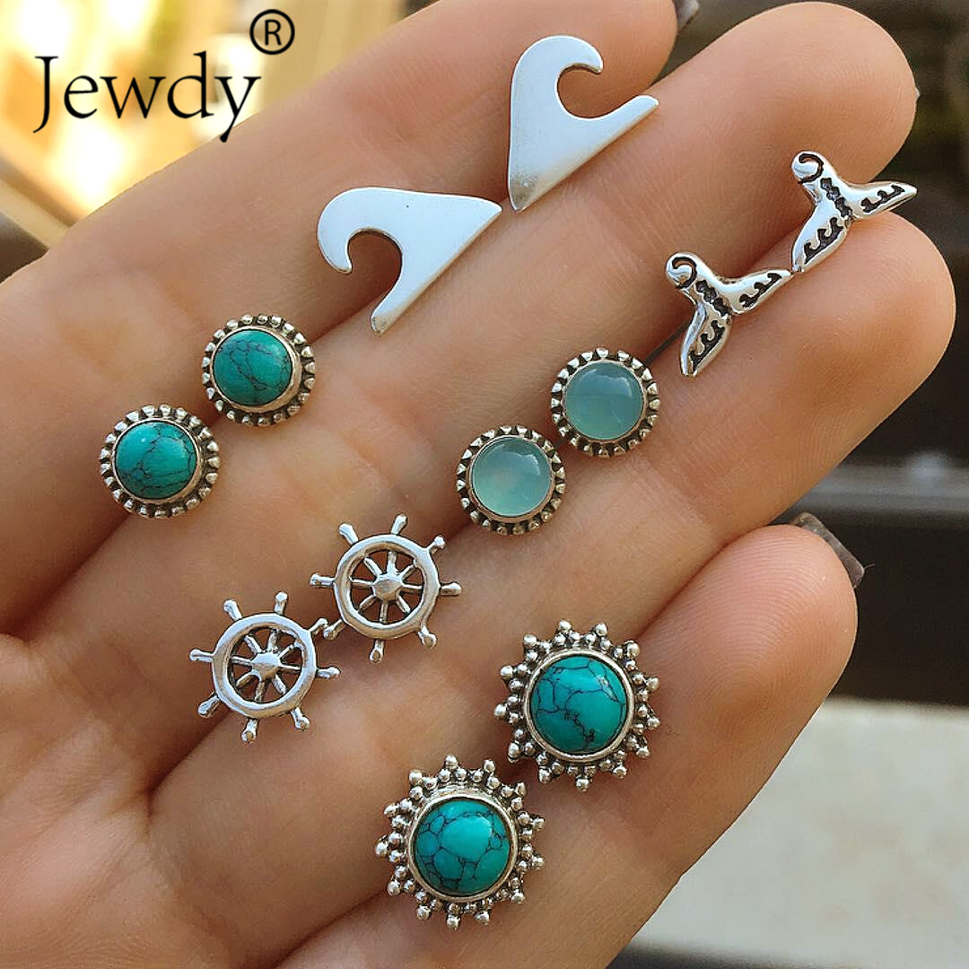 6 Pairs/Set Mermaid Wave Women Stone Bohemian Anchor Stud Earrings for Women Boucle Doreille Jewelry Dazzling Brincos Party
