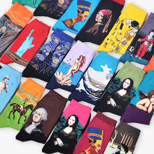 Fashion Art Cotton Crew Printed font b Socks b font Painting Character Pattern font b Women