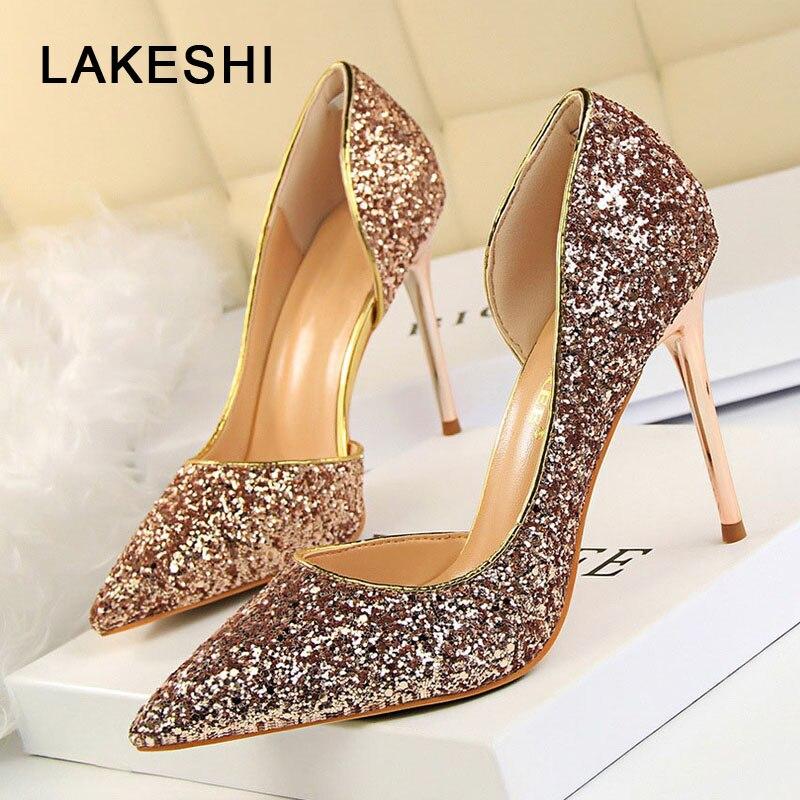 LAKESHI נשים משאבות Extrem סקסי עקבים גבוהים נשים נעלי עקבים דקים נשי נעלי חתונה נעלי זהב רסיס לבן גבירותיי נעליים
