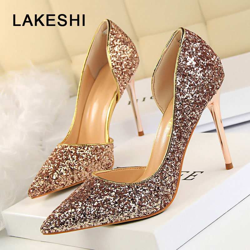 LAKESHI mujeres bombas extremos Sexy tacones altos zapatos de mujer tacones finos zapatos de mujer zapatos de boda oro plata blanco señoras zapatos