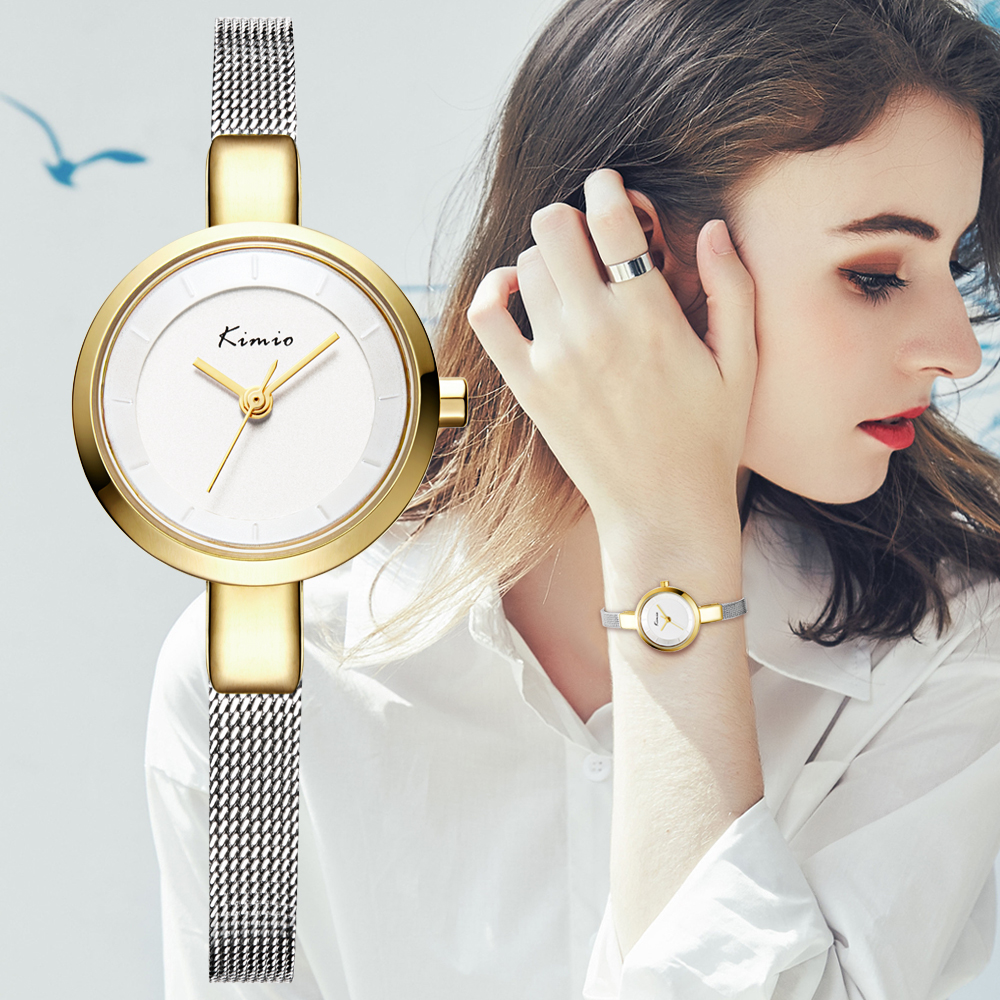 Luxury Brand Kimio Fashion Women Watches Ladies Wristwatches Small Dial Quartz Clock Waterproof Stainless Steel Bracelet Watch