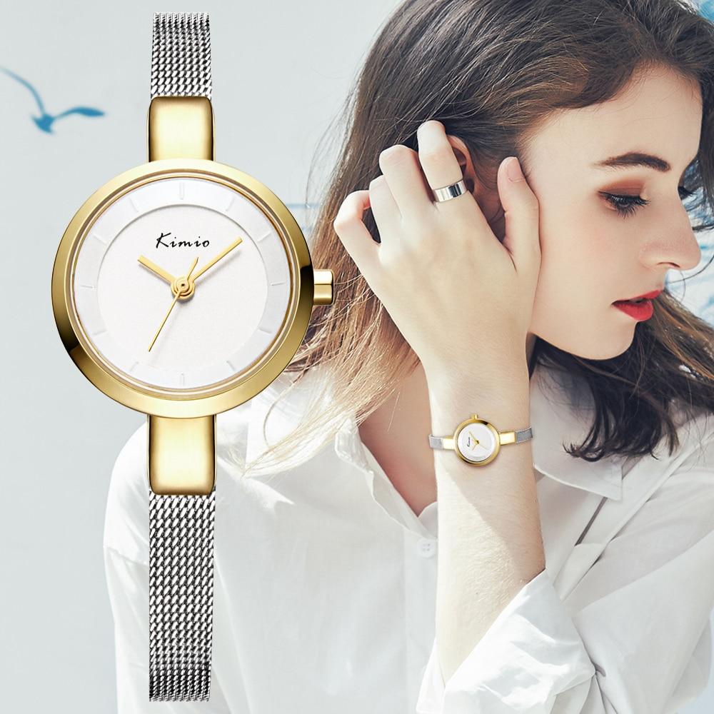 La marca de lujo de Kimio vestido de moda de las mujeres relojes de señoras relojes pequeño Dial reloj de cuarzo impermeable pulsera de acero inoxidable