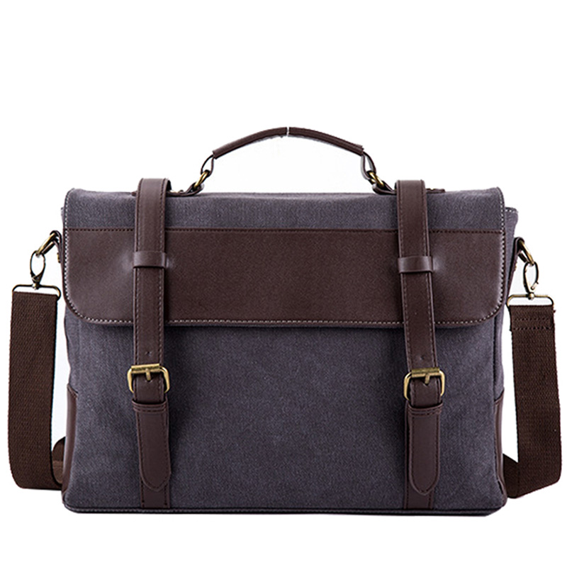 Men Briefcase Bag Canvas Leather Messenger Bags For Man Famous Brand Shoulder Bag Male Casual Laptop Handbag Tote New XA243ZC