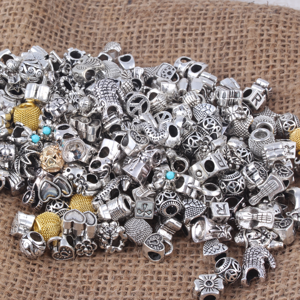 20pcs Round Skull Big Hole European Resin Glass Beads Fit Pandora Bracelet Chain Boho Necklace For Jewelry Making Accessories Moderate Price Beads Beads & Jewelry Making
