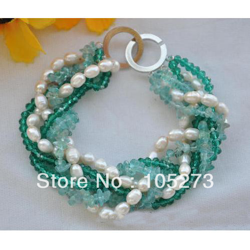 Wholesale Pearl Jewelry Natural 6 Strands 8inch White Freshwater Pearl Green Faceted Crystal Bracelet 6 8mm New Free Shipping