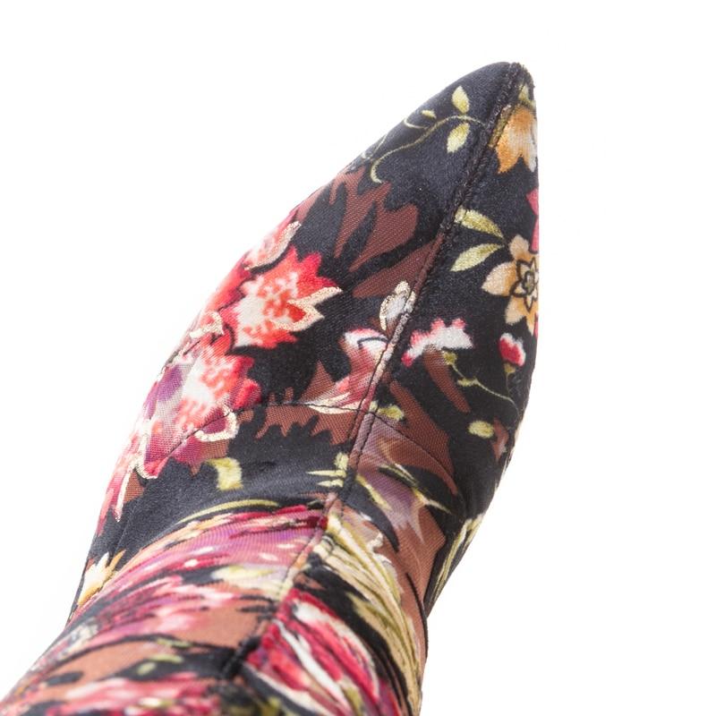 Huase Haute Mode Tissu De Hiver Sexy Talons Cheville Automne Pointu Chaussures Bout Stretch Bottes Salu Femmes pRSwYZn