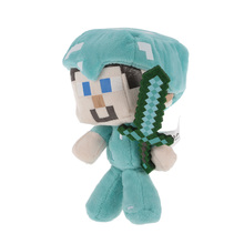 Minecrafter Diamond Steve Plush Toys 17cm Steve With Diamond Sword Plush Toy Doll Soft Stuffed Toys
