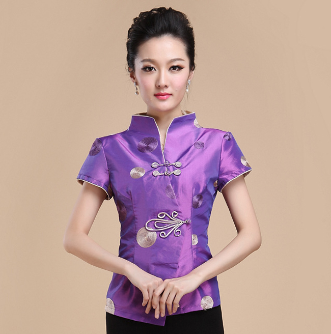 High Quality Purple Chinese Lady Satin Shirt Tradition Handmade Button Blouse Elegant Slim Summer Tops S