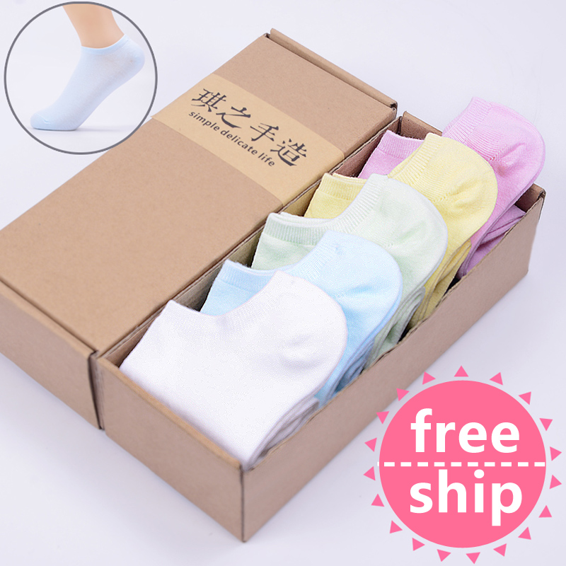 HOT women socks cute candy thin invisible 100% cotton socks high/boat Casual socks solid color Breathable Cotton Ship Short Sock