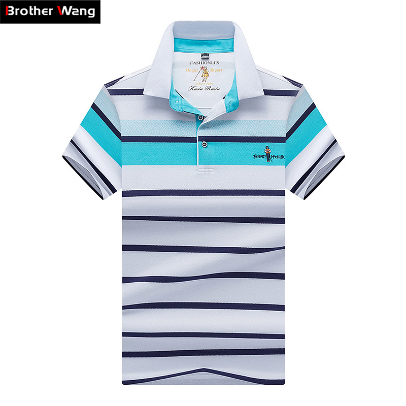2019 new summer men's casual   POLO   shirt Business Casual fashion embroidery Striped   polo   shirt Brand clothes 8092
