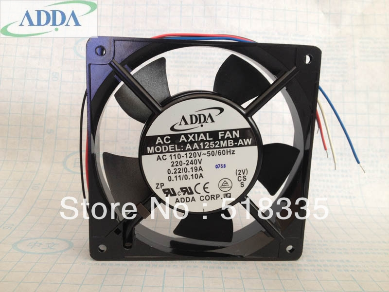 ADDA AA1252MB-AW 1225 12025 12CM 120*120*25MM 110V 220V aluminum frame Dual ball cooling fan Axial Fan cooling fan 220v 120mm aa1252mb at adda 120 120 25mm 12025 12cm ac fan axial fan outlet