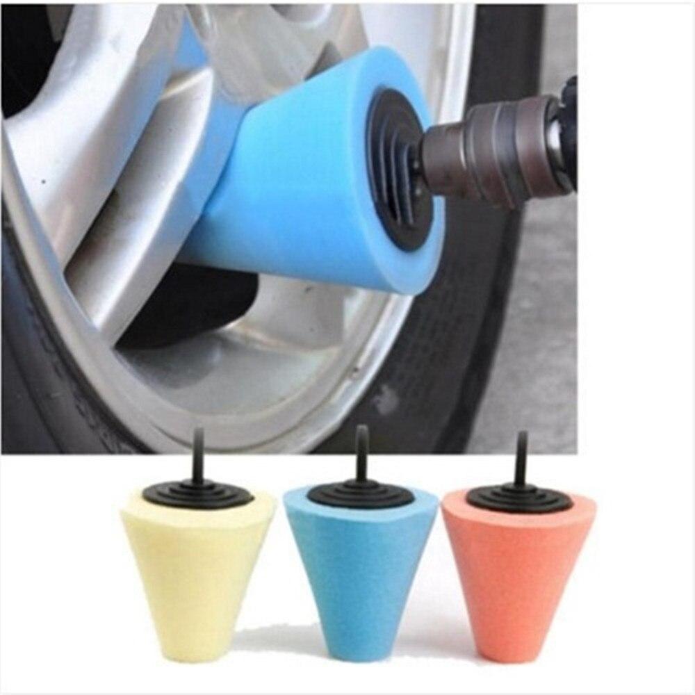 Tampon de polissage en mousse, éponge de polissage, pour voiture, roue, moyeu de roue, Machine à polir, moyeux de roues en forme de cône
