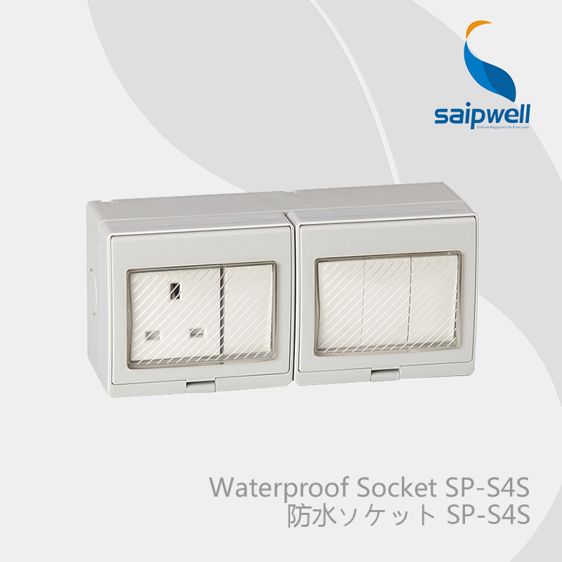 цена на Saipwell Electrical Plugs & Sockets waterproof double control switch and socket British Style (SP-S4S)
