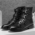 Súper Moda Mujeres Botines Remaches Elegantes Populares Punta Redonda Tacones Square Elegante Negro Mujer Zapatos de Tamaño EE.UU. 4-10.5
