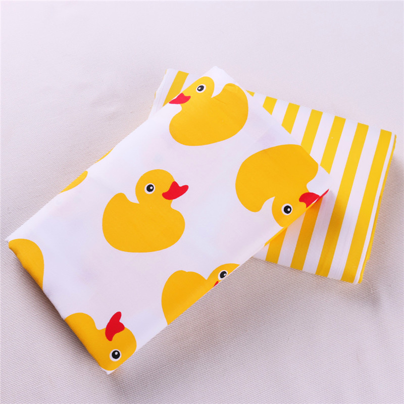 Half Meter Yellow Duck Cartoon Printed Cotton Textile Fabric For Sewing Quilting Patchwork Quilts Tissue Baby Bedding DIY Cloth