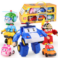 Detonation Mini Q version of Polly Police Vehicle Auto Robot 6 Suits for Children Pol Boys and Girls
