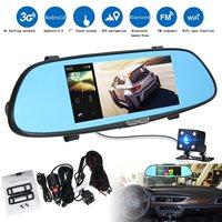 KROAK 7 1080P Android 5 0 3G Car DVR GPS Dual Lens Rearview Mirror Camera Video