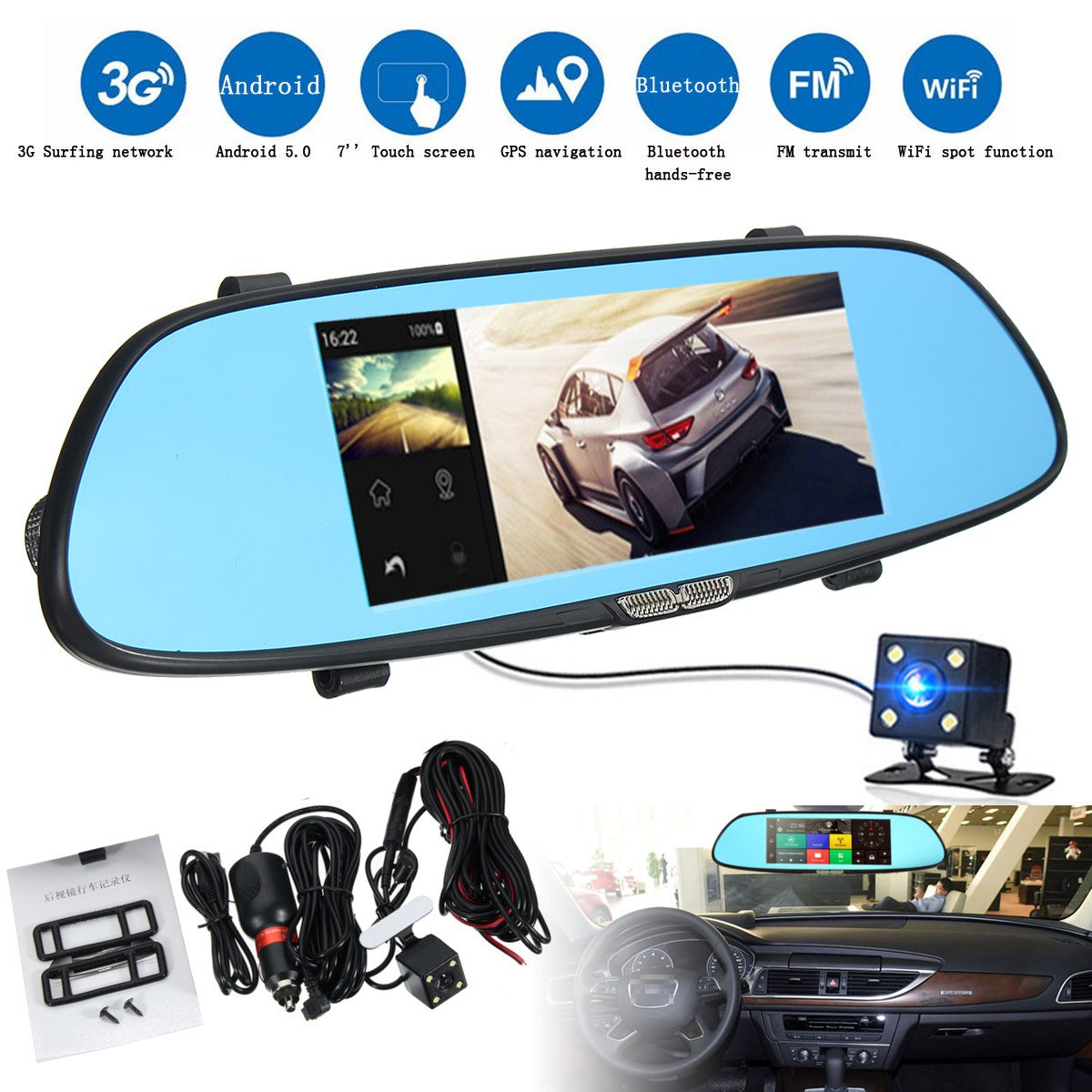 KROAK 7'' 1080P Android 5.0 3G Car DVR GPS Dual Lens Rearview Mirror Camera Video Recorder Bluetooth