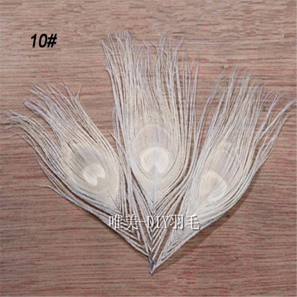 White craft feathers bulk - 20pcs Lot 4 6 10 15cm Bleached White Real Peacock Feathers Eye Fly Tying Plumes For Jewelry Craft Making Bulk Sale