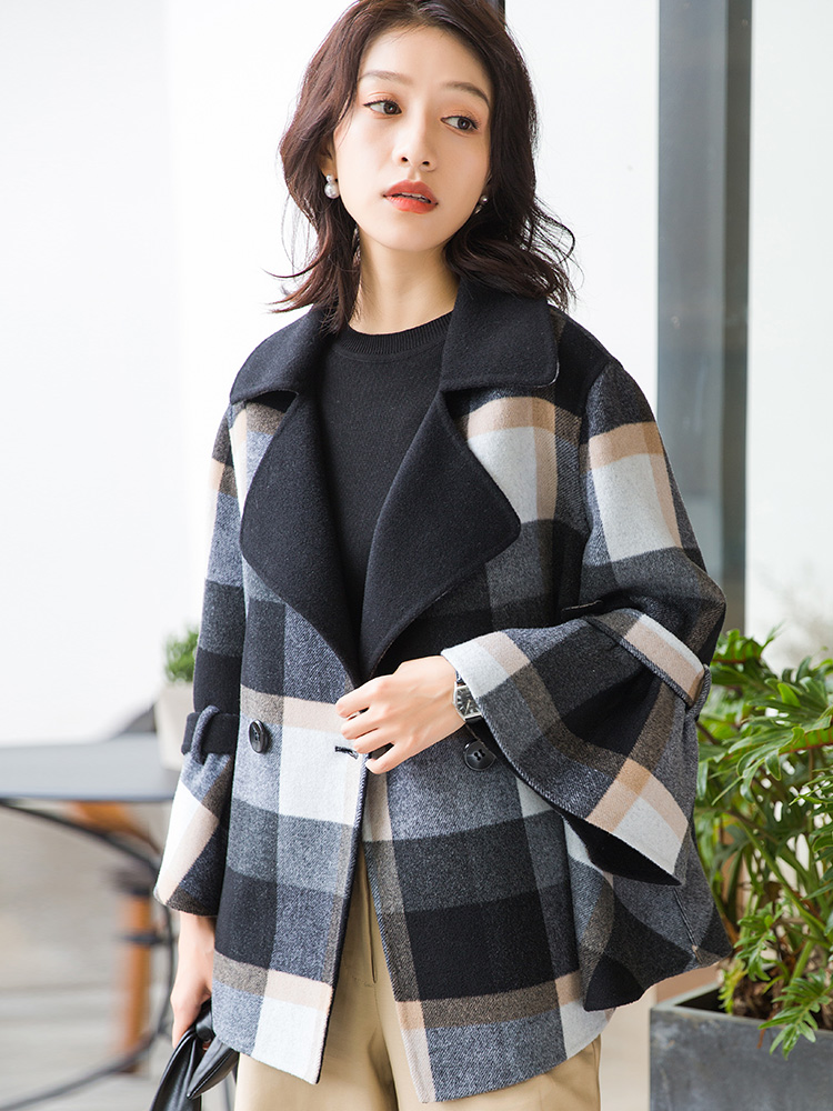 Veste Hiver Manteau Manteaux Plaid Coréen My897 De Court Laine Mujer Vêtements Chaqueta Automne Vintage Femmes Double Black 2018 face wqApF4gc6B