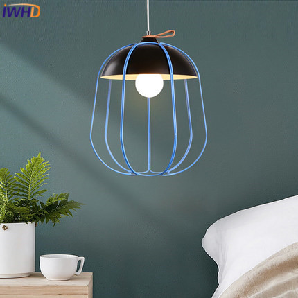 IWHD LED подвесные светильники Современный Креативный черный железный подвесной светильник простая подвесная клеть светильник KitchenHome осветит