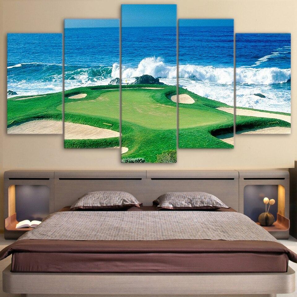 Toile salon photos Art affiche modulaire 5 panneau Golf Course côte peinture mur cadre HD imprimé moderne décor à la maison