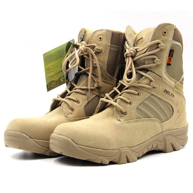 DELTA Tactical Boots Men Outdoor Hiking Climbing Shoes Wear Resistant Leather & Rubber Breathable Mountain Climbing Sneakers