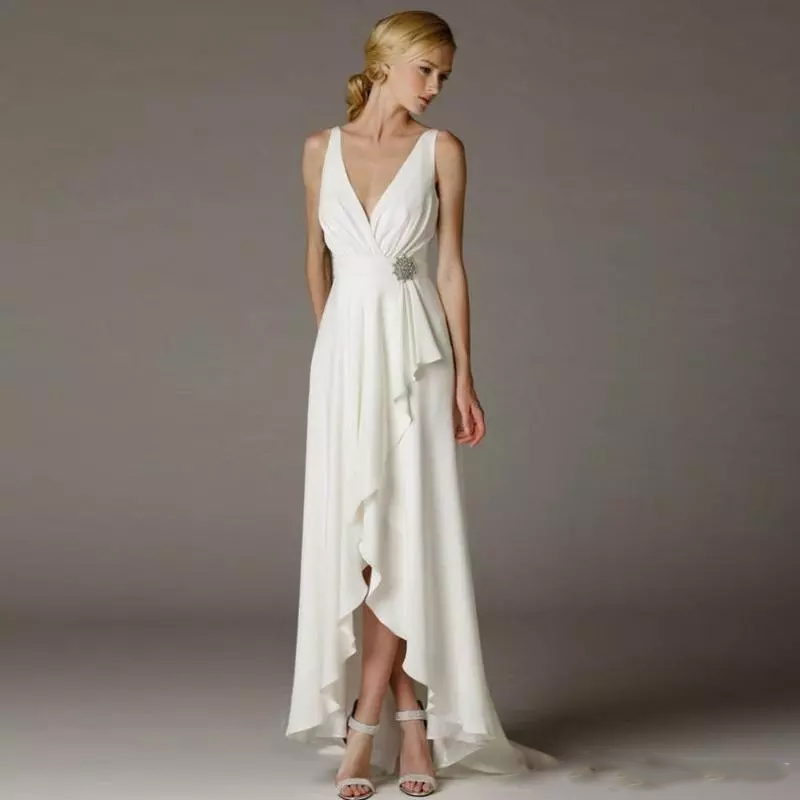 Low Waist Wedding Gowns: Wedding Dress Beach Simple Deep V Neck Empire Waist With
