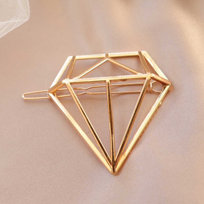 Geometry Shape Metal Triangle Hairpin for Women Gold Silver Pin Shape Hair Clip Wedding Bridal Hair Accessories Headress Tools